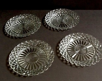 Mid Century Anchor Hocking Salad Plates, Set of 4, Waterford Waffle Pattern, Clear Glass Plates