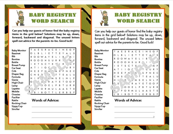 baby registry camouflage printable word search with