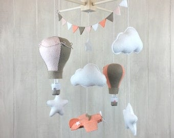 Baby mobile - airplane mobile - hot air balloon mobile - nursery mobile - cloud mobile - star mobile - pilot nursery decor