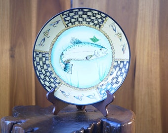 Chinese Toyo Decorative Blue Trout Plate