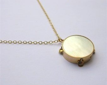 Antique Edwardian Tambourine Charm Necklace in Mother-of-Pearl and 9ct Gold