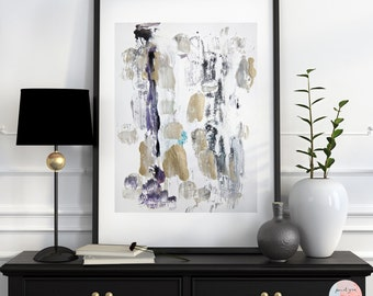 Abstract acrylic painting fine art print in gold & grey / download file /.
