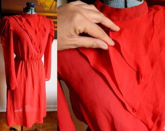 Small / Medium - Very Cool Red Vintage Dress