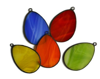Decorative Easter Eggs, Stained Glass Easter Ornaments Set of 5 red, orange, lime green, yellow, blue,  Spring Window Decoration, Wall Decor