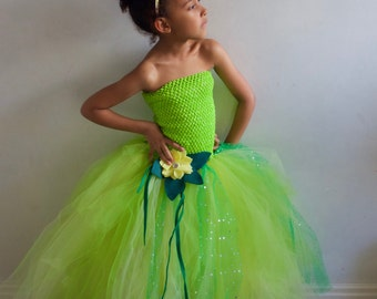 Princess Tiana & The Frog inspired Tutu Dress/Gown, Age 3 up to 12 years