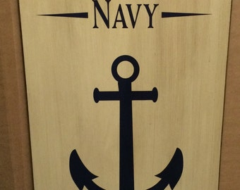 US Navy Retired Wood Sign, Canvas Wall Hanging, Banner - Army, Air Force, Marines, Military Christmas, Retirement, Birthday, Gift -