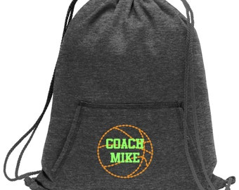 Sweatshirt material cinch bag with front pocket and embroidered spirit design - Basketball - Multiple Colors - Camouflage - BG614