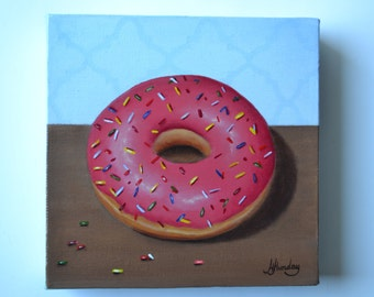 Original 6x6' acrylic donut painting, small still life painting, kitchen painting, kitchen miniature, small artwork, sweets art, pastry