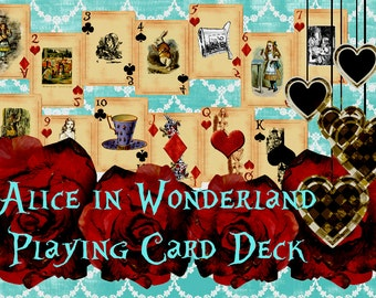 Printable Alice in Wonderland Playing Cards - 54 Digital Playing Cards Alice in Wonderland Printables - DIgital Art Instant Download
