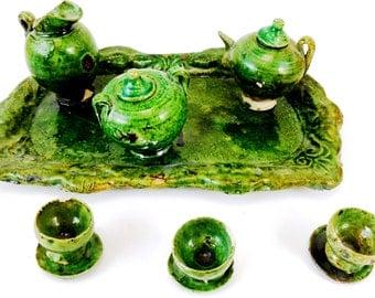 Vintage Madd Tea Party Ceramic Mini Tea Set 12 pc Color Green