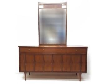 Vintage Mid Century Modern Detailed Drawer Sculptural Handle Dresser- Walnut- Credenza with Mirror