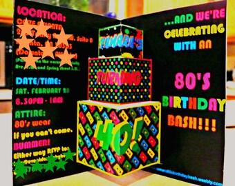 80s Theme Party Invite, Pop Up 80s invitation, 80s card, Retro Invitations, 1980s Birthday Party invitations, 80s party invitations