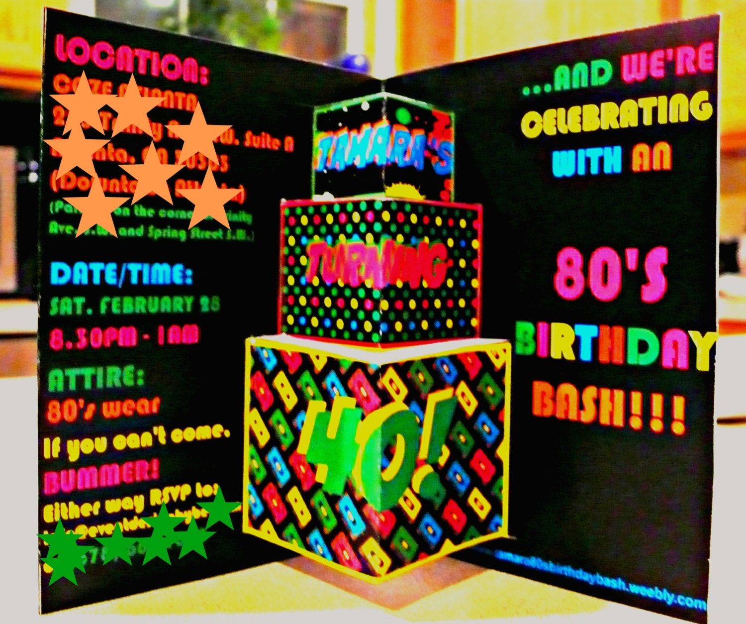 80s Theme Party Invite Pop Up 80s invitation 80s card Retro – 80s Theme Party Invitations