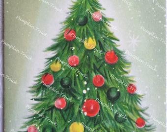 Vintage Christmas Card - Decorated Tree - Unused Hallmark