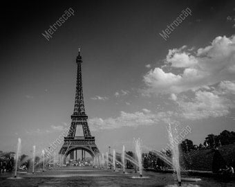 Black and White, Paris Photography, Paris France Photography , Fine Art Photography, Paris Pictures, Eiffel Tower from Warsaw Fountain Pool