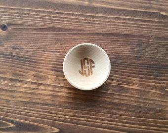 Personalized Ring Bowl Dish Circle Letter Monogram Engraved