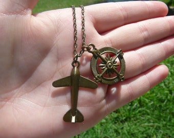 Airplane and Compass bronze Necklace