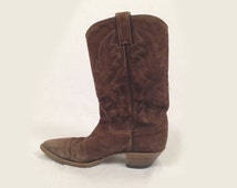 Vintage brown suede cowboy boots women 6.5 - 7 , 1970s brown cowboy boots genuine suede boots western 70s boho bohemian festival distressed