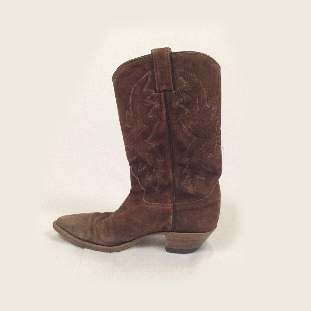 vintage brown suede cowboy boots 6 5 7 1970s brown
