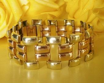 Wide Antique Vintage 1950's 12ct Rose & Yellow Gold GF Bracelet