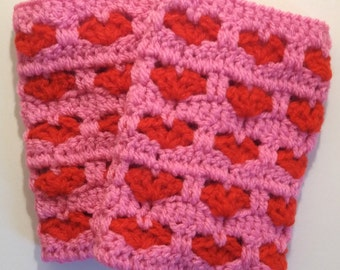 Crochet Heart Pattern Ladies Wrist Warmers
