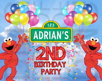 Sesame Street Elmo or Abby Birthday Banner Digital Download 6 feet by 4 feet