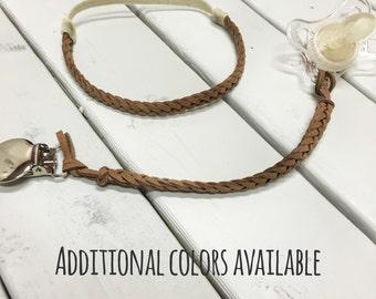 Leather Braided Headband + Binky Clip Set (pacifier clip, faux suede, newborn, boho chic, vintage)