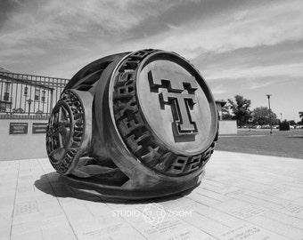 Texas Tech Alumni Ring in Black and White Fine Art Print, Red Raider Photography, Dorm Decor, College Campus Wall Art