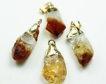 2pcs Gemstone Point Pendant , 24K gold plated with Raw Citrine Gemstone,  12-15mm width*27-35mm length-GEM0912
