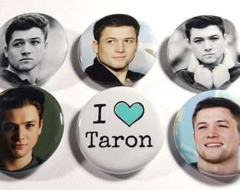 """Set of 6 Taron Egerton 1.25"""" Pinback Buttons, Flat Backs or Magnets"""