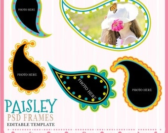 Paisley Frames, Psd Frame templates,  Digital Frames, Scrapbook Frames, Frame Clipart,  Frames, Instant Download, Tear drop Frames