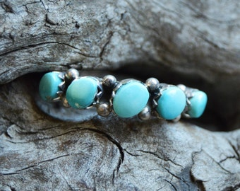 Native American Indian Handmade Turquoise Ring on Sterling Silver