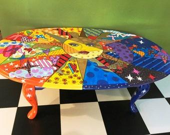 Beautiful CUSTOM ORDER Hand Painted Table Celestial Theme Table Vintage Furniture