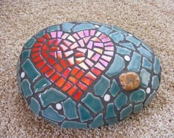 Heart Mosaic Garden Rock
