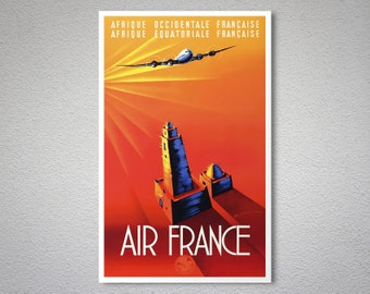 Air France Afrique Occidentale Française Travel Poster - Poster Print, Sticker or Canvas Print