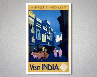 Visit India, A Street by Moonlight Vintage Travel Poster  - Poster Paper, Sticker or Canvas Print