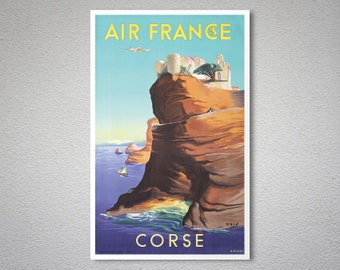 Air France,  Corse - Vintage Airline Travel Poster - Poster Print, Sticker or Canvas Print