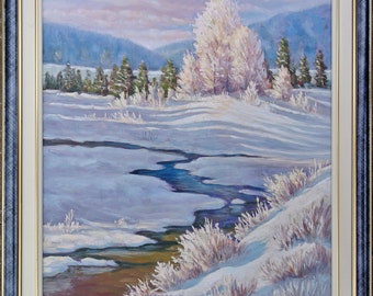 Winter painting, winter oil painting, winter landscape