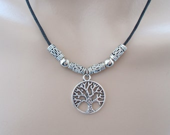 tree of life necklace black cord necklace handmade jewellery silver charm necklace black cord jewellery pagan jewellery womens gift idea
