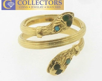 Antique Victorian 18k 750 Yellow Gold Emerald Snake Serpent Band Ring 8.75