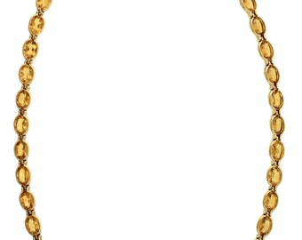 Elegant Ladies 14k 585 Yellow Gold Oval Citrine Choker Necklace