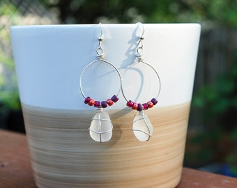 Genuine White Sea Glass Sterling Silver Dangle Hoop Earrings With Beaded Accents.
