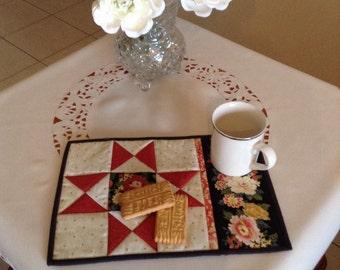 OHIO STAR mug rug, snack mat, placemat, candle mat