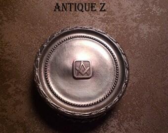 Unique!!! 19th century Masonic round brass, bronze box/cassette,  Victorian, antique