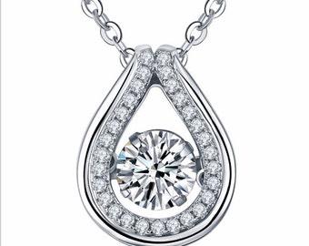 2.00 Carats Dancing Diamond Pendant with Chain