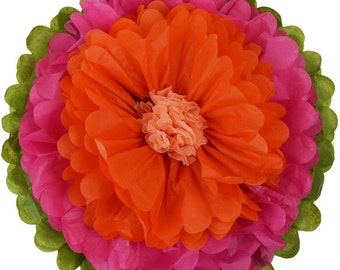 """Tissue Paper Flower 10"""" Shocking Pink Tangerine Peach - Item Number:TPF100023 - Just Artifacts - Paper Flower for Parties and Events"""