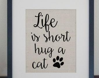 Hug a cat Burlap Sign