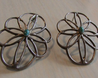 Sterling Silver and Turquoise Unusual Southwest Earrings