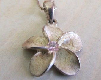 Sterling Silver Plumeria Necklace with Lavendar Stone