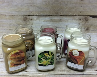 100% Soy Candle In Mason Style Jar With Handle